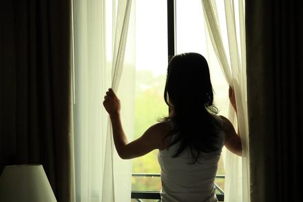 窓からのりだす知性~夏の最初の朝画像